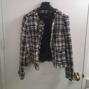 Zara Black and White Tweed Jacket